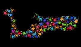 Mapa de la isla de Grand Cayman del mosaico de las hojas coloridas del cáñamo ilustración del vector