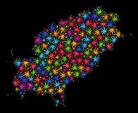 Mapa de la isla de Ibiza del mosaico de las hojas brillantes del cáñamo libre illustration