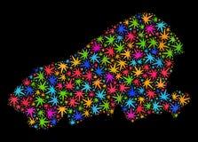 Mapa de la isla de Kahoolawe del mosaico de las hojas coloreadas del cáñamo libre illustration