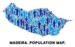 Mapa de la isla de Portugal Madeira del Demographics stock de ilustración
