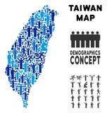 Mapa de la isla de Taiwán del Demographics ilustración del vector