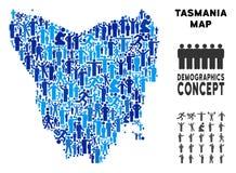 Mapa de la isla de Tasmania del Demographics stock de ilustración