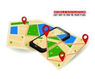 Mapa de la navegación GPS y marcador móviles del perno con el dispositivo digital moderno stock de ilustración