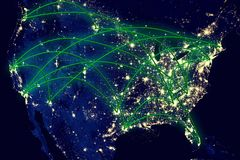 Mapa de la noche de Estados Unidos Imagen de archivo libre de regalías