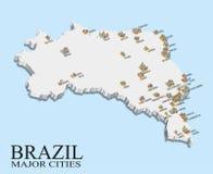 Mapa de la población de la ciudad del Brasil Foto de archivo libre de regalías