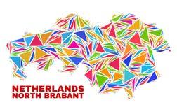 Mapa de la provincia de Brabante Septentrional - mosaico de los triángulos del color ilustración del vector