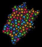 Mapa de la provincia de Fujian del mosaico de las hojas coloridas del cáñamo ilustración del vector