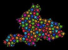 Mapa de la provincia de Güeldres del mosaico de las hojas brillantes del cáñamo libre illustration