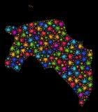 Mapa de la provincia de Groninga del mosaico de las hojas multicoloras del cáñamo stock de ilustración