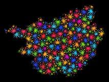 Mapa de la provincia de Guangxi del mosaico de las hojas brillantes del cáñamo ilustración del vector