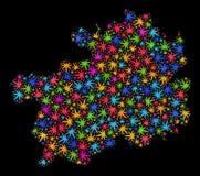 Mapa de la provincia de Guizhou del mosaico de las hojas coloreadas del cáñamo ilustración del vector