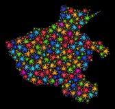 Mapa de la provincia de Henan del mosaico de las hojas multicoloras de la marijuana stock de ilustración