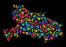 Mapa de la provincia de Hubei del mosaico de las hojas brillantes del cáñamo libre illustration