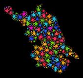 Mapa de la provincia de Jiangsu del mosaico de las hojas coloridas del cáñamo stock de ilustración