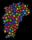 Mapa de la provincia de Jiangxi del mosaico de las hojas coloreadas del cáñamo ilustración del vector