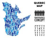 Mapa de la provincia de Quebec del Demographics ilustración del vector
