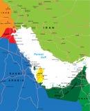 Mapa de la región del Golfo Pérsico Imágenes de archivo libres de regalías