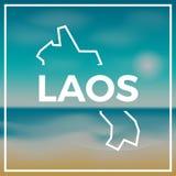 Mapa de la república Democratic del ` s de Lao People áspero stock de ilustración