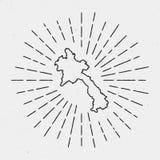Mapa de la república Democratic del ` s de Lao People del vector stock de ilustración