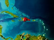 Mapa de la República Dominicana en la tierra Imágenes de archivo libres de regalías