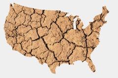 Mapa de la sequía de los E.E.U.U. Imágenes de archivo libres de regalías