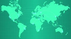 Mapa de la tierra en fondo verde de moda de la pendiente Imagenes de archivo