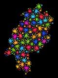 Mapa de la tierra de Hesse del mosaico de las hojas multicoloras de la marijuana stock de ilustración