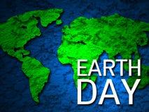 Mapa 2 de la tierra verde de la bandera del Día de la Tierra Fotografía de archivo libre de regalías
