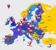 Mapa de la UE con 28 iconos Imágenes de archivo libres de regalías