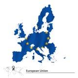 Mapa de la unión europea 2015 con la bandera ilustración del vector
