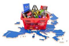 Mapa de la unión europea con la cesta de compras por completo de hogar y de kitc libre illustration