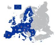 Mapa de la unión europea con las banderas de país Fotografía de archivo