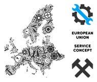 Mapa de la unión europea del collage de las herramientas del servicio libre illustration