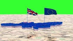 Mapa de la unión europea y del Reino Unido con las banderas del estado en el fondo de dólares americanos libre illustration