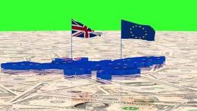 Mapa de la unión europea y del Reino Unido con las banderas del estado en el fondo de dólares americanos ilustración del vector