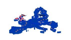 Mapa de la unión europea y de la Gran Bretaña con las banderas del estado libre illustration