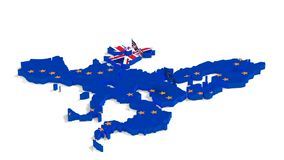 Mapa de la unión europea y de la Gran Bretaña con las banderas del estado ilustración del vector