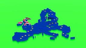 Mapa de la unión europea y de la Gran Bretaña con las banderas del estado stock de ilustración