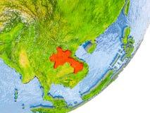 Mapa de Laos na terra Fotos de Stock Royalty Free