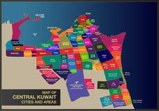 Mapa de las ciudades centrales y de las áreas de Kuwait stock de ilustración