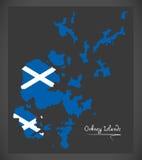 Mapa de las Islas Orcadas con el ejemplo escocés de la bandera nacional ilustración del vector