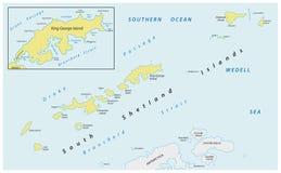 Mapa de las Islas Shetland meridionales del archipiélago sub-antártico en el océano meridional