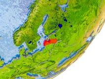 Mapa de Letónia na terra Imagens de Stock