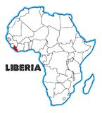 Mapa de Liberia África Fotos de archivo libres de regalías