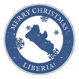 Mapa de Liberia Feliz Navidad Liberia del vintage stock de ilustración