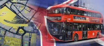 Mapa de Londres y un bus turístico fotos de archivo libres de regalías
