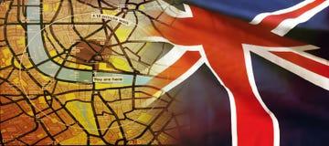 Mapa de Londres y una bandera BRITÁNICA imágenes de archivo libres de regalías