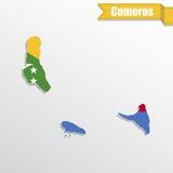 Mapa de los Comoro con el interior y la cinta de la bandera libre illustration