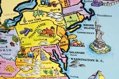 Mapa de los E.E.U.U. Imagenes de archivo