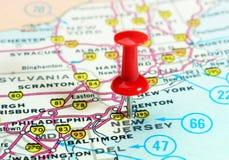 Mapa de los E.E.U.U. del estado de New Jersey Foto de archivo libre de regalías